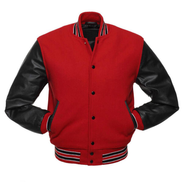 Red and Black Varsity Letterman Baseball Jacket