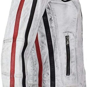 Retro Strips Leather Biker Jacket