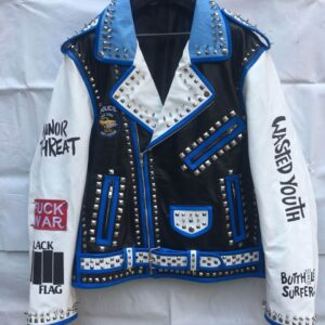 Rock Punk Blue White Silver Studded Leather Jacket