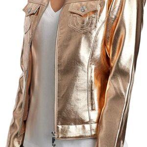Rose Golden Metallic Leather Biker Jacket