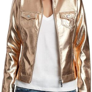 Rose Golden Metallic Leather Biker Jacket