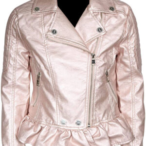 Rose Metallic Leather Biker Jacket