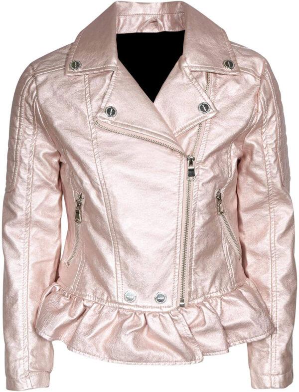 Rose Metallic Leather Biker Jacket