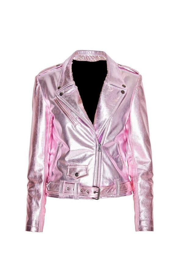 Metallic Rose Biker Women Leather Jacket