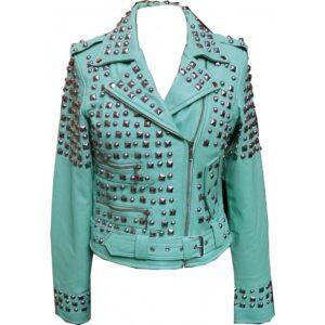 Sea Green Studded Biker Leather Jacket