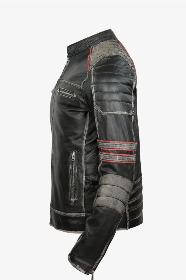 Retro Moto Distressed Leather Jacket