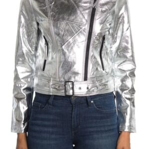Silver Metallic Belted Leather Jacket