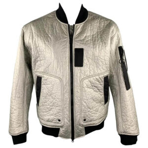 Silver Metallic Bomber Leather Jacket