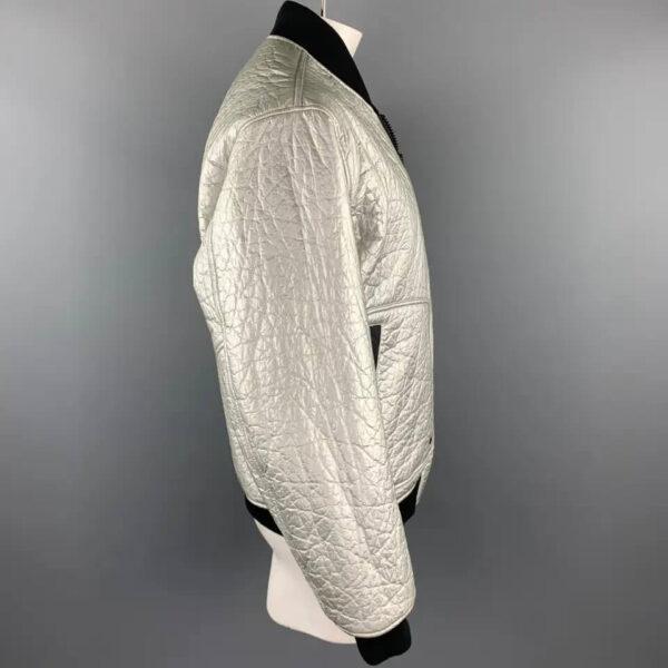 Silver Metallic Bomber Leather Jacket
