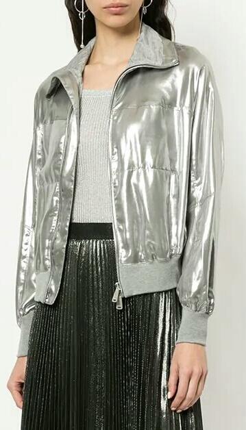 Silver Metallic Bomber Women Fashion Leather Jacket