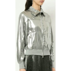 Silver Metallic Bomber Women Fashion Leather Jacket