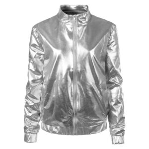 Silver Metallic Coated Women Jacket