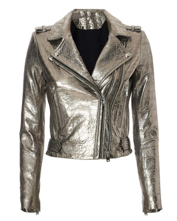 Silver Metallic Dylan Biker Stylish Leather Jacket