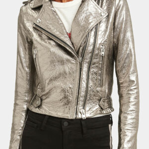 Silver Metallic Dylan Biker Stylish Leather Jacket