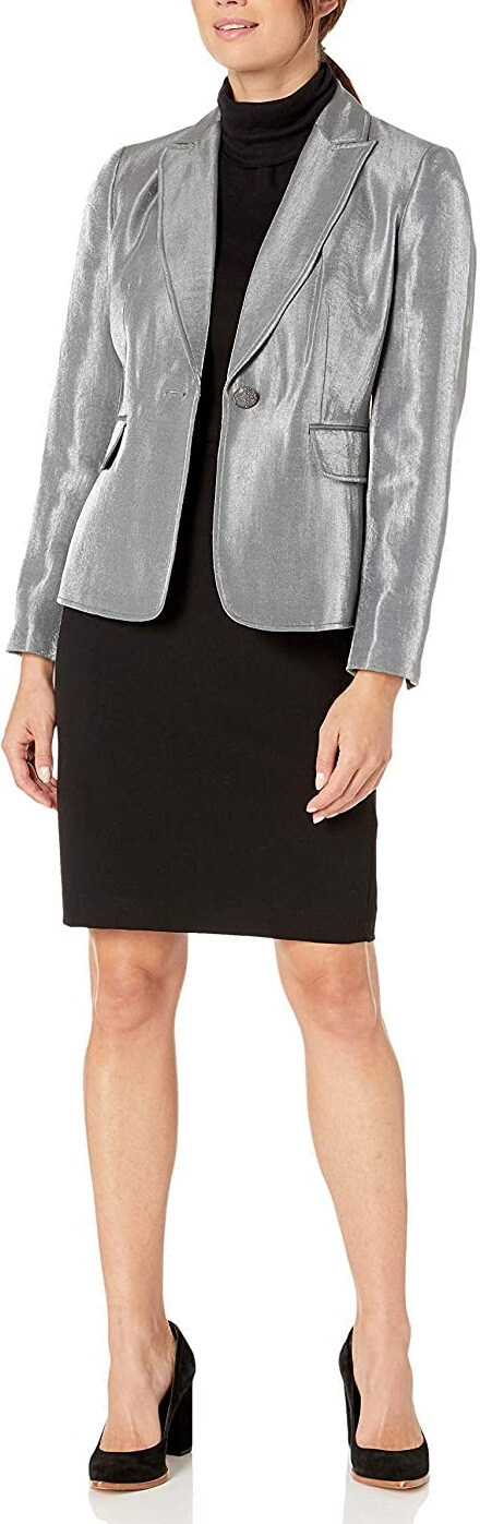 Silver Metallic Leather Blazer Jacket