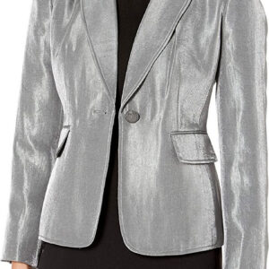 Silver Metallic Leather Blazer JacketSilver Metallic Leather Blazer Jacket