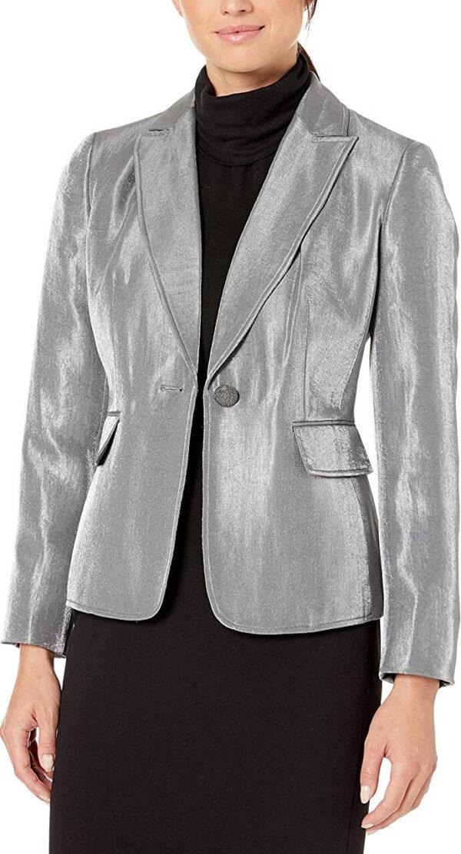 Silver Metallic Leather Blazer JacketSilver Metallic Leather Blazer Jacket
