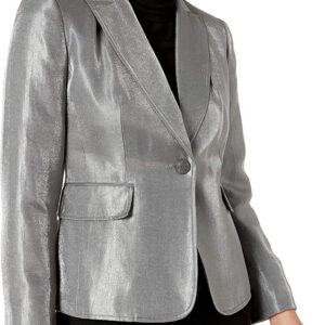 Silver Metallic Leather Blazer Jacket