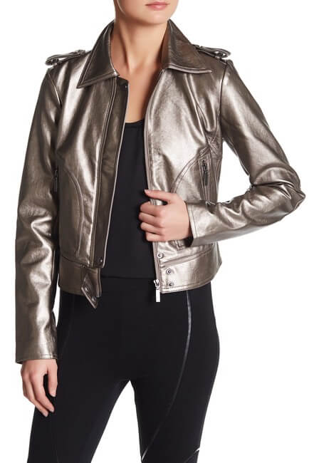 Silver Metallic Leather Women's Jacket