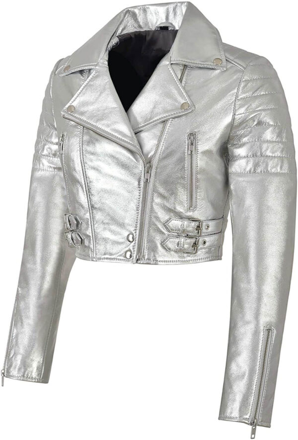 Silver Metallica Leather Cropped Biker Jacket