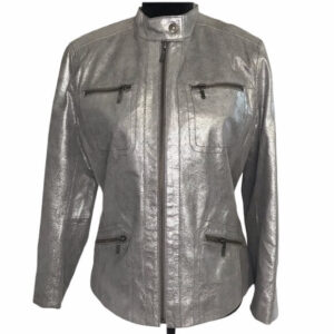 Silvery Metallic Leather Women's Jacket