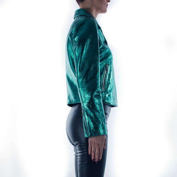 Teal Metallic Leather Biker Women's Jacket