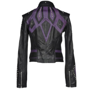 Two Tone Black Purple Silver Studded Leather Jacket
