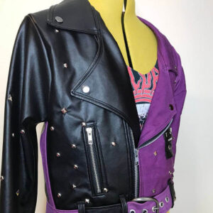Two-Tone Black Purple Silver Studs Leather Jacket