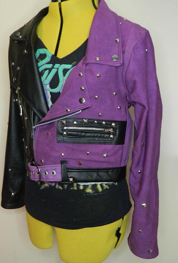Two-Tone Black Purple Silver Studs Leather Jacket