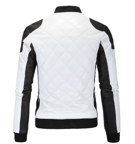 Two Tone Quilted Leather Jacket