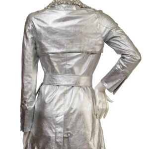 Vintage 1990s Silver Metallic Leather Jacket