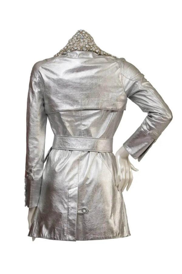 Vintage 1990s Silver Metallic Leather Jacket