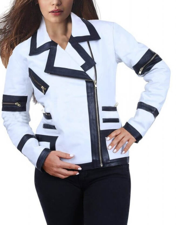 White Combo Leather Jacket For WomenWhite Combo Leather Jacket For Women