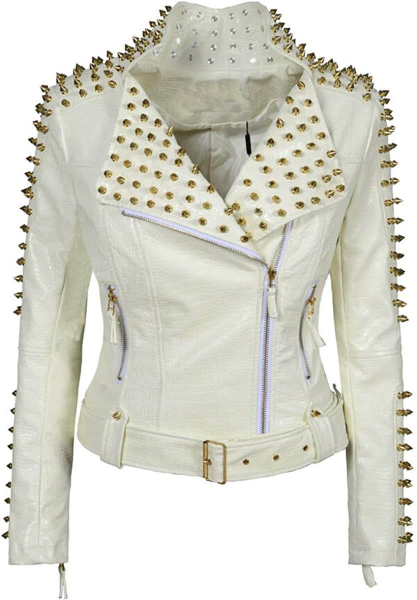 White Golden Studded Punk Leather Biker Jacket