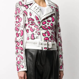 White Philipp Plein Animal Print Stud Jacket