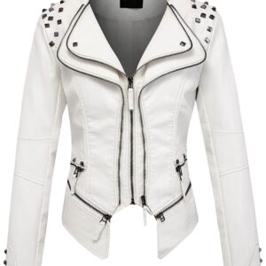 White Silver Studded Rivet Leather Jacket