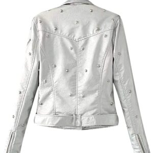 White Studded Leather Women's Jacket