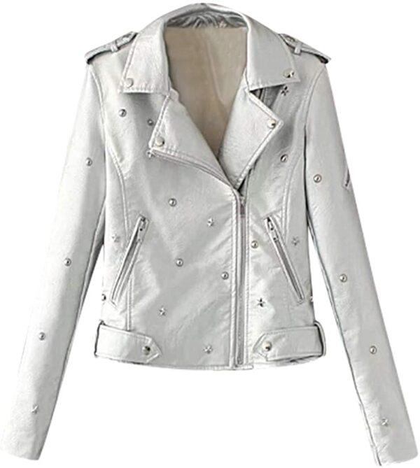 White Studded Leather Women's Jacket