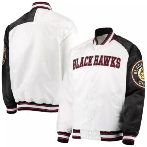 White&Black Chicago Blackhawks Satin Jacket