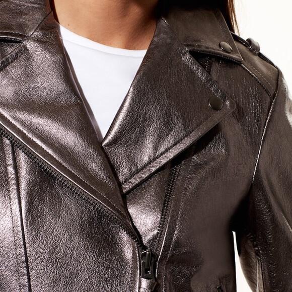 Women Metallic Biker Leather Jacket