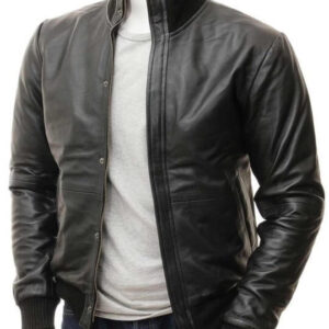 Black Bomber Leather Jacket