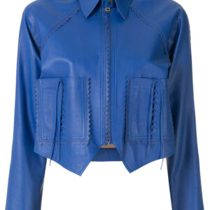 Women Blue Pointed Leather Jackets