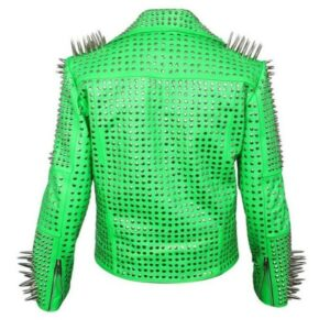 Green Full Long Spike Studded Leather Jacket
