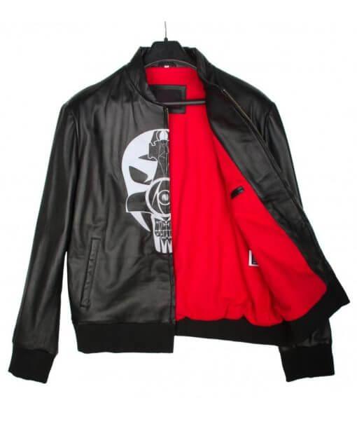 Skullish Society Black Leather Bomber Jacket