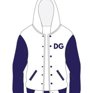 Custom White and Purple Varsity Cotton Jacket