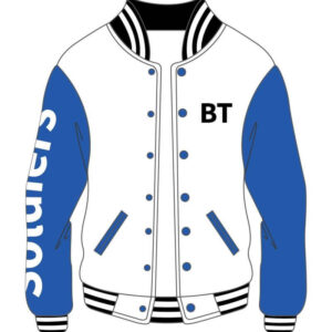 Custom White and Blue Soldier Varsity Jacket
