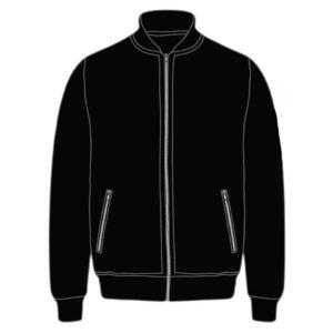 Custom Black Leather Bomber Jacket