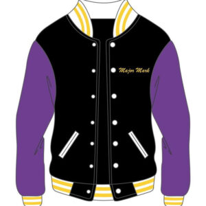 Custom Black and Purple Mens Varsity Jacket