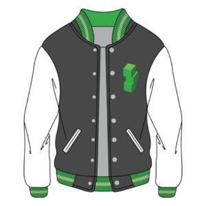 Custom Cubic Cotton Blend Grey Varsity Jacket
