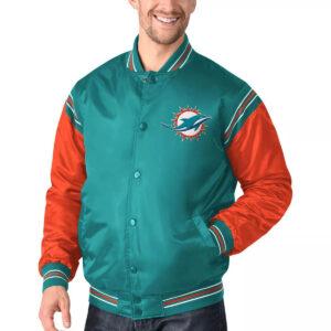Aqua&Orange Miami Dolphins Satin Varsity Jacket